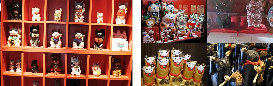 明治時代に作られた歴史あるものや、有名ブランド、オリジナルの招き猫をずらり!